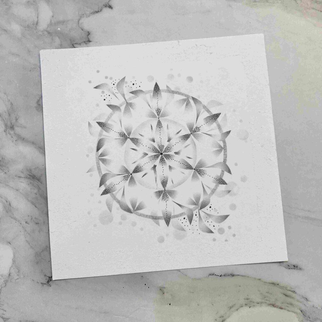 【粉彩】平衡內在生命之花-黑白主題